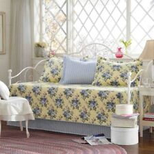 Daybed Cover Set Quilted Bedding Blue Flower Yellow Base 5 Piece Shams Bedskirt