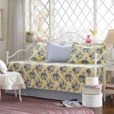 Daybed Cover Set Blue Flower Yellow Base 5 Piece Cotton Bed Quilted Bedding