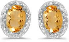 10k White Gold Oval Citrine & Diamond Earrings E2615W-11