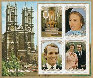 (67588) Cook Islands MNH Princess Anne Wedding minisheet 1973