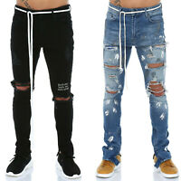 Mens Denim Jeans Slim Fit Designer Stylish Trousers Pants Distressed Ripped