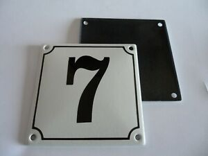 Old German White Enamel Porcelain Metal House Door Number Street Sign / Plate 7