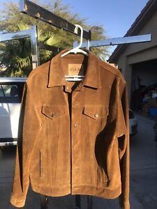 Vtg Gap Blue Jeans Mens Suede Leather Jacket Brown Trucker Sz Large