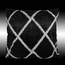 SHINY SILVER CROSS DECO SMOOTH BLACK VELVET THROW PILLOW CASE CUSHION COVER 17""