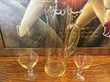 Vintage Amber Glass Cocktail Bar Mixer / Martini Pitcher w/Ice Lip + 2 Glasses