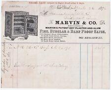 RARE Billhead Marvin Safe Co - New York NY - 1872 for Housatonic Railroad Co RR