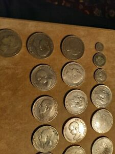 spain lot of 17 coins all silver some rare coins - 361 gr of silver 900%