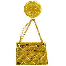 Motif Brooch Pin Corsage Gold T04470 Authentic Chanel Vintage Cc Logos Bag