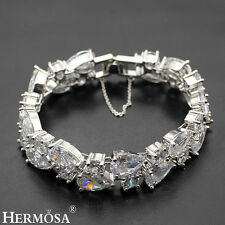 "Genuine White Topaz Hermosa 925 Sterling Silver Luxury Xmas Gifts Bracelet 7"""