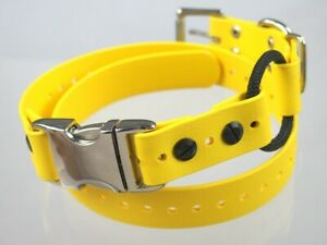 """1"""" Yellow Biothane Dog Buckle Bungee E-Collar Remote Trainer Quick Snap Strap"""