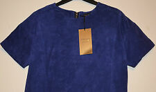 LADIES M&S PER UNA SPEZIALE REAL SUEDE LEATHER SHELL TOP SIZE 10 CHINA BLUE BNWT