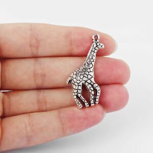10Pcs Antique Silver Giraffe Charms Pendants for Jewelry Crafts Making 45x20mm