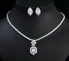 18k White Gold Pendant Necklace Earrings Set made w Swarovski Simulated Diamond