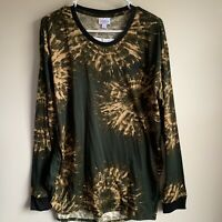Lularoe Green Gold Tie Dye Long Sleeve Hudson Tee T-shirt Size Large NWT