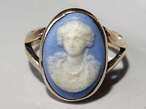 Antique Georgian Victorian? 9ct Gold Wedgwood Jasperware Cameo Ring Size H