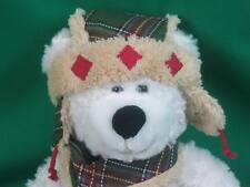 ADORABLE GREEN FLANNEL BOOTS HAT SCARF WHITE SHAGGY TEDDY BEAR HUG FUN PLUSH