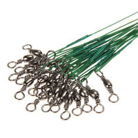 60x Stainless Steel Finshing Line Wire Leader Swivel Tackle Spinner 15/ 23/ 30cm
