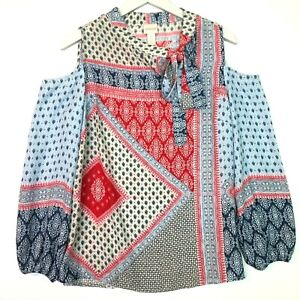 Chicos printed patchwork bow blouse red blue size 0 US small 4 cold shoulder
