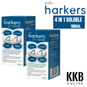 Harkers 4 in 1 Soluble 100ml Pigeon Bird Mite Treatment Canker Coccidiosis x 2
