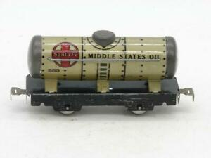 Marx 553 Silver Santa Fe Middle States Oil Tank Car Metal Rivet Tab Couplers