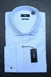 Hugo Boss Men Malvin Sharp Fit French Cuff Blue Cotton Dress Shirt 44 17.5 32/33