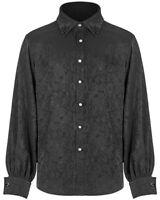 Punk Rave Gothic Shirt Top Black Brocade Steampunk Victorian Vampire + Cufflinks