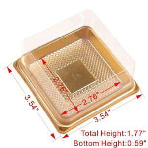 Clear Plastic Box Container w/ Gold Base For Cake Pastries Packaging BPA Free