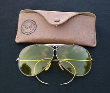 Vintage B&L Bausch & Lomb Rayban Shooter Aviator Sunglasses 1/10 12K GF w/Case