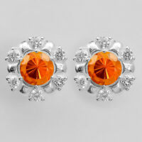 Padparadscha Sapphire and Cz Stud 925 Sterling Silver Earrings Jewelry AE7975