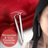 925 Sterling Silver Plated Cool Vertical Bar Geometric Long Hanging Earrings
