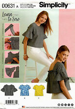 Simplicity D0631 Misses Learn to Sew Tops Sewing Pattern ~ Size XXS-XXL