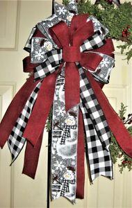 BUFFALO CHECK FARMHOUSE CHRISTMAS BOW WIRED RIBBON WREATH LANTERN # 71B