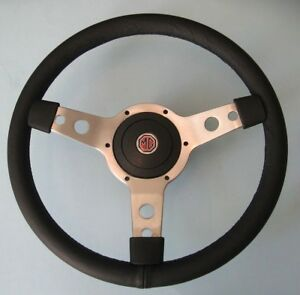 "New 14"" Vinyl Steering Wheel & Adaptor for MGB 1977-1980 MG Midget 1978-1979"