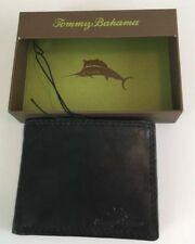 TOMMY BAHAMA BLACK LEATHER L FOLD CARD CASH WALLET NEW IN GIFT BOX