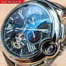 Mens Automatic Mechanical Watch - Silver Black Dial Black Leather DIASTERIA 3109