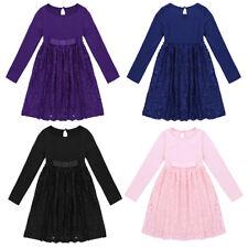 Vestido Tutú de Encaje Flor Niñas Concurso de Niños Bebés Boda Dama de honor vestidos