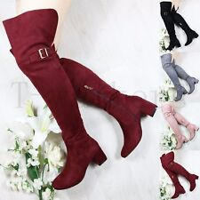Womens Ladies Zipped Mid Chunky Block Heel Over Knee Boots Fur Lined Shoes Size
