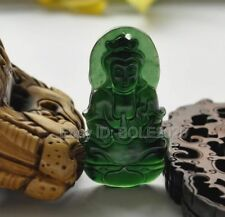 Chinese Natural Black Green Jade Carved GuanYin Lucky Pendant + Rope Necklace