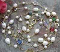 60'' White Pearl Multi Color Crystal Chain freshwater Cultured Necklace
