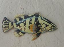 "OUTDOOR HAITIAN 15"" METAL GROUPER FISH HANGING TROPICAL WALL ART DECOR"
