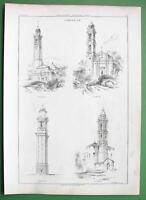ARCHITECTURE PRINT : ITALY Campaniles at Genoa & Venice
