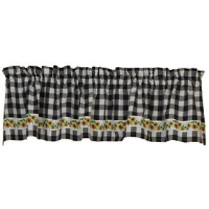 """New Country Farmhouse Cottage WHITE BLACK  CHECK SUNFLOWER VALANCE Curtains 72"""""""