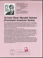 USPS 1978 First Day Issue Souvenir Page, 15-Cent Oliver Wendell Holmes