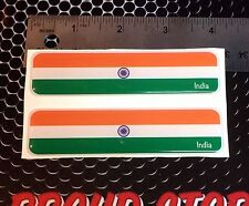 "India Flag Proud Domed Decal Emblem Car Flexible 3D 4""x1"" Set of 2 Stickers"