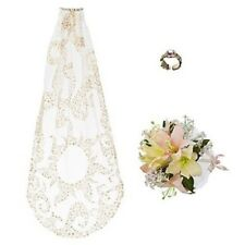 RAPUNZEL~Wedding Costume Accessories~3~VEIL+BOUQUET+RING~NWT~Disney Store~2012