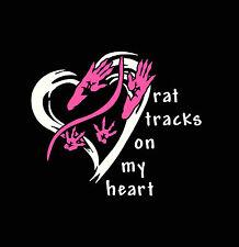 rat tracks with  heart t shirt  / mouse tracks / i love rats