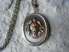 BRONZE LION LOCKET - LION'S HEAD ANTIQUE BRONZE, QUALITY, UNIQUE