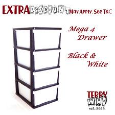 Mega 4 Tier Drawer Storage Organiser Plastic level Office Box Cabinet Coloured