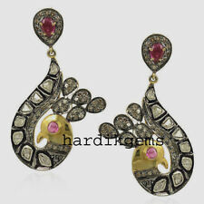 Solid 925 Sterling Silver Earring Jewelry Natural Rose Cut Diamond Polki & Ruby