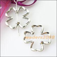 10 New Charms Clover Flower Spacer Frame Beads 22mm Tibetan Silver